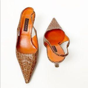 Escada Snakeskin Brown Leather Pointed Toe Heels